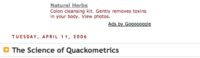 Irony at Quackometrics - an herbal medicine ad at an anti-pseudoscience and fake medicine site