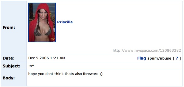Spam from Priscilla at MySpace