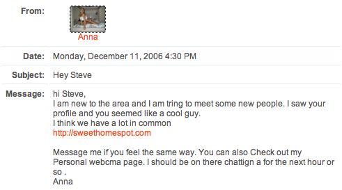 Spam from Anna at Friendster